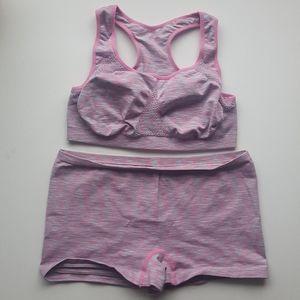 Other - Pink blue yoga short + sports bra large set